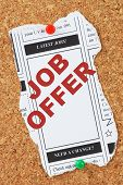 foto of section  - Mock up of the Latest Jobs from the classified ads section of a newspaper with the phrase Job Offer  in the column box - JPG