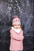 stock photo of little girls photo-models  - Little girl standing on top of a snow fray - JPG