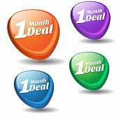 1 Month Deal Colorful Vector Icon Design