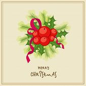 Merry Christmas celebrations greeting card design decorated with mistletoe and fir leaves.