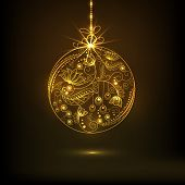 Beautiful floral design decorated golden X-mas Ball hanging on brown background for Merry Christmas and Happy New Year celebrations.