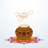 foto of rangoli  - Traditional mud pot with rice on colorful rangoli decorated background for Happy Pongal - JPG
