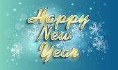 Shiny text Happy New Year on snowflakes decorated blue background, can be used as poster or banner design.