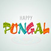 South Indian harvesting festival celebrations with stars decorated colorful text Happy Pongal on blue background.