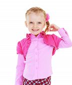 stock photo of little girls photo-models  - A smiling little girl in a pink dress - JPG
