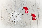 Christmas Decor Elements With Angels And Snowflakes