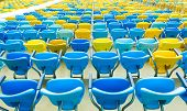 Colored Seating rows in the stadium