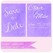 Watercolor pastel lilac and purple  backdrop color. Wedding invitation card set. Save the date