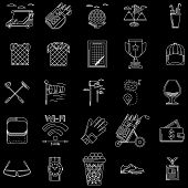 pic of foursome  - White contour icons vector collection of elements and symbols for golf on black background - JPG