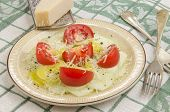 Cucumber Salad With Tomato On A Plate