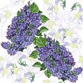 Seamless pattern  with lilac and pansies