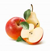 Whole Red Apple, Half And Pear Isolated On White Background