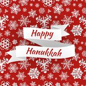 picture of hanukkah  - Happy Hanukkah card with snowflakes on red background - JPG