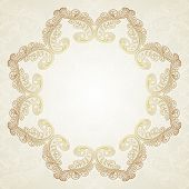 Vintage Gold Floral Frame Vector illustration