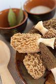 Fresh Morel Mushrooms On A Plate