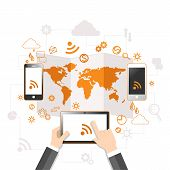 Cloud computing and mobile communication concept