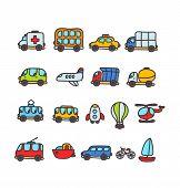 cartoon hand drawn transport icon set
