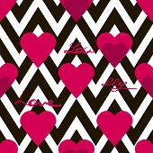 Seamless Valentines Day Pattern With Hearts And Text On Zig Zag Background