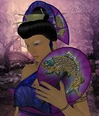 foto of geisha  - A Geisha is a Japanese young woman that entertains with music dance games and conversation - JPG