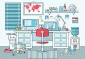 Flat Design Vector Illustration Of Modern Office Interior