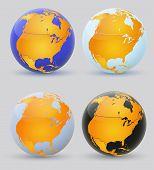 Globe And North America. Set Of Multi-colored Globes Of America