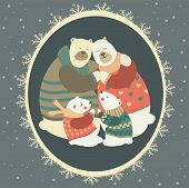 Greeting card, polar bear family celebrating Christmas