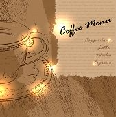 Coffee menu design with a cup