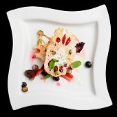 Asian fruit dessert with lotus root and berries isolated with clipping path