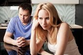 Conflict between man and woman at home. Couple problems