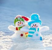 Snowman on snow. Christmas decoration. Winter