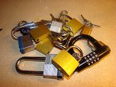 Assortment of padlocks and keys