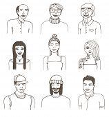 Set of doodle portraits. Vector eps8 illustration.