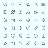 Web icon set, simple and thin line design