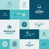 Set of modern flat design water and nature icons