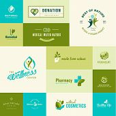 pic of biomedical  - Set of vector icons on the theme of nature and healthcare - JPG
