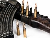 stock photo of sub-machine-gun  - The Ak 47 Assault Rifle soviet Issue with 7 - JPG