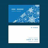 Vector falling snowflakes horizontal corner frame pattern business cards set