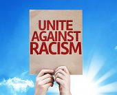 Unite Against Racism card with sky background