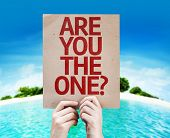 Are You The One? card with a beach on background