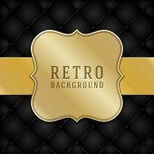 Vintage style golden label ornament design and black leather vector background. Retro luxury frame , badges premium quality design element.