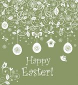 Decorative easter card with hanging eggs and birdhouse