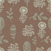 Seamless nature pattern with graphic brunch and flowers.  Hand drawing leavs vector illustration.