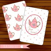 Teapot cards events, tea party, vector on wood background. Use for invitations.Place for text.  Teap