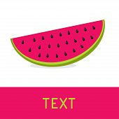 Watermelon Slice Card. Flat Design