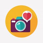 Valentine's Day Photo Camera Flat Icon With Long Shadow,eps10