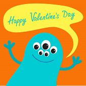 Cute Blue Monster With Speech Text Bubble. Happy Valentines Day Card Flat Design.