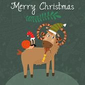 Merry Christmas Card With Cute Goat And Snail  In Vector. Cartoon Holiday Background In Green Colors