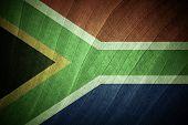 Sa Flag With Green Leaf Background