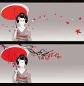 foto of japanese woman  - Vector illustration of young Japanese woman in traditional clothes as season symbol - JPG