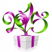 Vector purple green ribbon in the shape of 2015 and gift box. Symbol of New Year